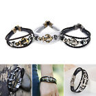 Vintage Men's Metal Anchor Steel Studded Surfer Leather Bangle Cuff Bracelet tb