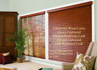 "2"" FAUXWOOD BLINDS 34 3/4"" WIDE x 49"" to 60"" LENGTHS - 4 GREAT WOOD COLORS!"