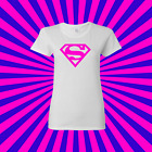New Super Girl White Tee Shirt,  Hot Pink logo Comic Con - S