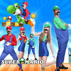 Adult Boys Super Mario Luigi Bros Brothers Costume Workmen F