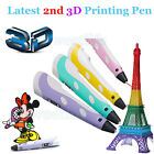 LCD 2nd Gen 3D Printing Pen Stereoscopic Drawing Arts Crafts+ 3 Free Filaments