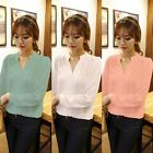 Women Ladies V-neck Long Sleeve Loose Chiffon Skirt Casual Office School Blouse