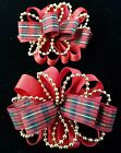 NEW Kids Girls Christmas Holiday Red Plaid Gold Beads Fashion Hair Bow