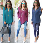 New Women Blouse Chiffon Long Sleeve Ladies Top T Shirt Casual Loose Top LOT