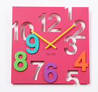 Colorful Modern Contemporary Wall Desk Clock with Hollowed-Out Numbers 3 Colors