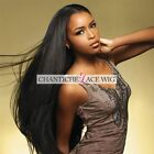 Women's Human Hair Lace Front Wigs Peruvian Remy Straight Glueless Full Lace Wig