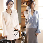 Korean Fashion Women's Bell Sleeve Angora Cardigan with Pearl Buttons-4 colors