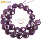 Natural Gemstone Coin Amethyst Quartz Stone Loose Beads For Jewelry Making 15""
