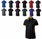 WOMEN'S WICKING COLLARED V-NECK, POLY TWILL, TWO TONE, POLO SHIRT GOLF S-L XL 2X