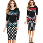 Womens Elegant Floral dots office ladies work wear Cocktail bodycon pencil dress
