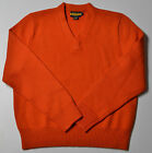 RALPH LAUREN RUGBY BURNT ORANGE LAMBS WOOL V NECK MENS HEAVY KNIT SWEATER SZ