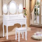 Tri Folding Oval Mirror Wood Vanity Makeup Table Set with Stool &7 Drawers US