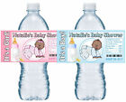 20 CRAWLING BABY SHOWER WATER BOTTLE LABELS GLOSSY AFRICAN AMERICAN