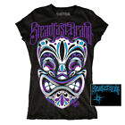 SteadFast Brand Women's Black 100% Cotton T-Shirt Day of the Dead Tiki SM - XL