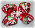 FRosty Snowman Double Layered Boutique Hair Bow Christmas Holiday Edges 2 sizes