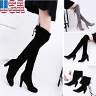 Women Lady Over The Knee Boots Stretch Faux Slim High Boots High Heels Shoes US