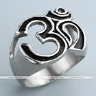 Stainless Steel Men's Punk Style Om Biker Silver Band Finger Ring us9-13 Gift