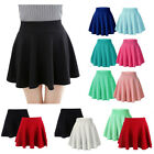 Moxeay Womens Basic A Line Pleated Circle Stretchy Flared Skater Skirt US Seller