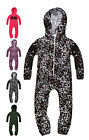 Kids Print Onesie New Boys Girls Printed Full Length Zip Hooded Onezee 2-13 Yrs
