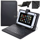 "US Micro USB Keyboard Case PU Leather Stand Case Cover For Android 7"" 8"" Tablet"