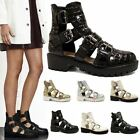 Ladies Womens Gladiator High Heel Strap Cut Out Sandals Chunky Ankle Boots Shoes