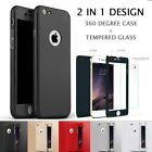 360° Full Body Case + Tempered Glass Screen Protector Cover For iPhone 7 7 Plus
