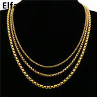 3/4/5mm Men's Women's Chain Box Link Gold Tone Stainless Steel Necklace Gift Bag