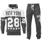 Mens New York Print Squad Fleece Over Head Warm Hooded Jogging Tracksuit Size