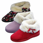 Womens Slippers Dunlop Wide Fit Slip On Faux Fur Lined Suede Ladies Ankle Boots