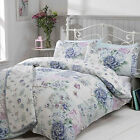 Pretty Patchwork Roses Duvet Cover Set with Vintage Flowers Print – Blue