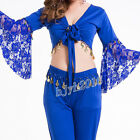 Women Belly Dance Costume Indian Yoga Dancewear Lace Top Plus Size Royal Blue