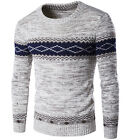 Homme Luxury Ras De Cou Floral Torsade Grosse Maille Pull Tricot Pull Pullpover