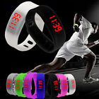 New Mens Women Watch Rubber/Silicone Digital Red LED Bracelet Waterproof Watch