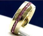 New Womens Stainless Steel 0.01 ct Pink Topaz CZ Engagement Wedding Band Ring