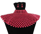 Collar Beaded Bib Egyptian Pearl Choker Chain Style Statement Necklace Earrings