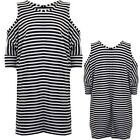 Ladies Cold Shoulder Batwing Loose Oversized Top Tunic Stripe Slouch Dress