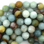 """Faceted Blue Amazonite Round Beads 15"""" Strand 2mm 3mm 4mm 6mm 8mm 10mm 12mm"""