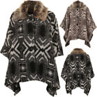 Warm Faux Fur Collar Aztec 3 Button Baggy Cape Shawl Poncho Jacket