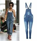 Ladies Womens Celeb Dungaree Denim Jeans Full Length Pinafore Overall Jumpsuit