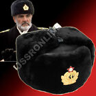 Russian Officers Mens Winter Mouton Sheepskin Leather Ushanka Fur Hat + Badge