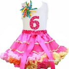 Hot Pink Rainbow Satin Binding Pettiskirt 6th Birthday Cupcake Dress Outfit