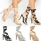 Womens Ladies Stiletto High Heels Lace Up Perspex Ankle Strappy Sandals Size 3-8