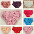 Baby Romantic Gorgeous 3D Rosettes Rose Bloomers Panties Photo Prop Party 6-24M