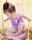 Baby Girls Lavender Lace Petti Romper Straps Bow NB-3T