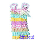 BabyGirls Light Blue White Polka Dots Pink Yellow Lace Bow Petti Rompers NB-3Y