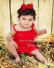 Baby Girls Red Lace Petti Romper Straps Bow NB-3T