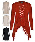 Ladies Cardigan New Womens Waterfall Long Line Plus Size Knitted Cardigan UK8-22