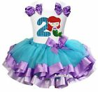 Blue Lavender Satin Trimmed Tutu Number 2 Mermaid Princess Birthday Dress Outfit