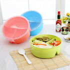 Round Microwave Bowl Lunch Box Picnic Bento Food Container Storage w/ Spoon NEW