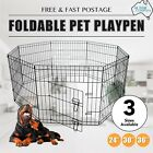 """8 Panel Pet Playpen Dog Puppy Rabbit Portable Exercise Cage Fence - 24"""" 30"""" 36"""""""